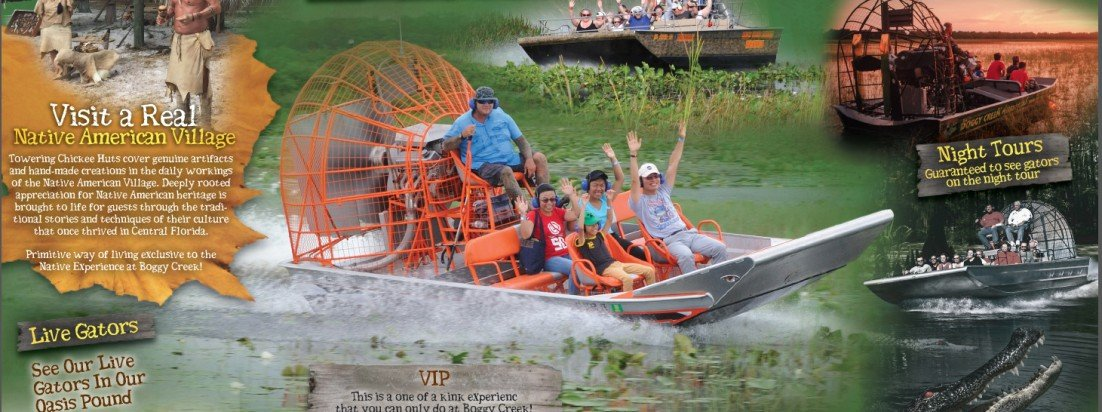 Boggy Creek Airboat Rides Orlando Florida Graphic Design Website design